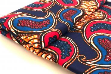 RED BLUE LEAVES Afrikanischer Wax Print Stoff
