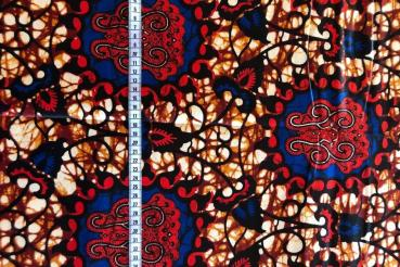 RED BLUE ORNAMENT Wax Print Stoff - hier kaufen