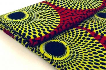 YELLOW RED CIRCLE Wax Print Stoff - hier kaufen
