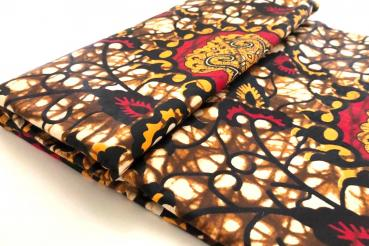 YELLOW RED ORNAMENT Afrikanischer Wax Print Stoff