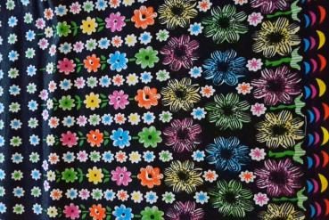 COLOURFUL FLOWERS Wax Print Stoff - hier kaufen