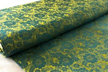 DARK LIGHT GREEN FLOWERS Seidenjacquard aus Vietnam