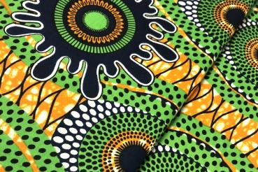 GREEN ORANGE SPLASH Afrikanischer Wax Print Stoff
