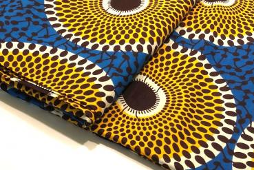 ORANGE BLUE CIRCLE Afrikanischer Wax Print Stoff