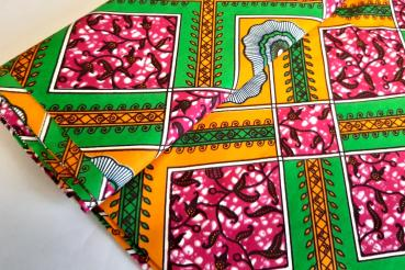ORANGE GREEN SUMMER Afrikanischer Wax Print Stoff
