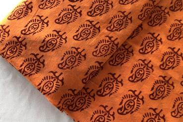 * ORANGE PAISLEY * Hand Block Print aus Indien
