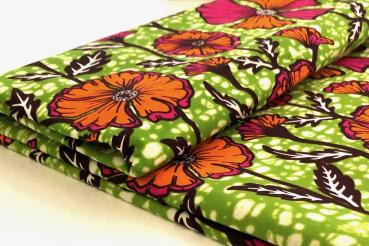 ORANGE PINK SUMMER FLOWER Afrikanischer Wax Print Stoff