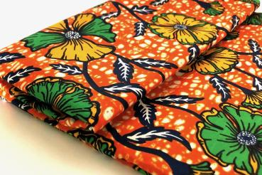 ORANGE SUMMER FLOWER Afrikanischer Wax Print Stoff