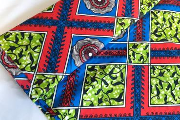 RED BLUE SUMMER Afrikanischer Wax Print Stoff