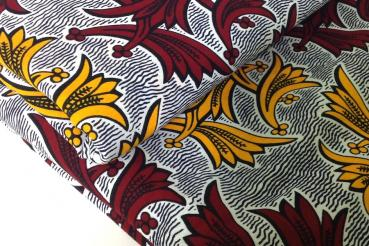 RED YELLOW LILY Afrikanischer Wax Print Stoff
