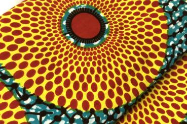TURQUOISE RED CIRCLE Afrikanischer Wax Print Stoff