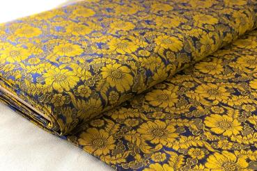 YELLOW BLUE FLOWERS Seidenjacquard - hier kaufen