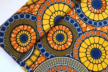 YELLOW DISC Afrikanischer Wax Print Stoff