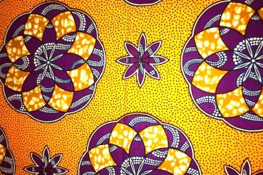 YELLOW-PURPLE MANDALA-waxprint