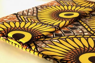 YELLOW SUNFLOWER Afrikanischer Wax Print Stoff