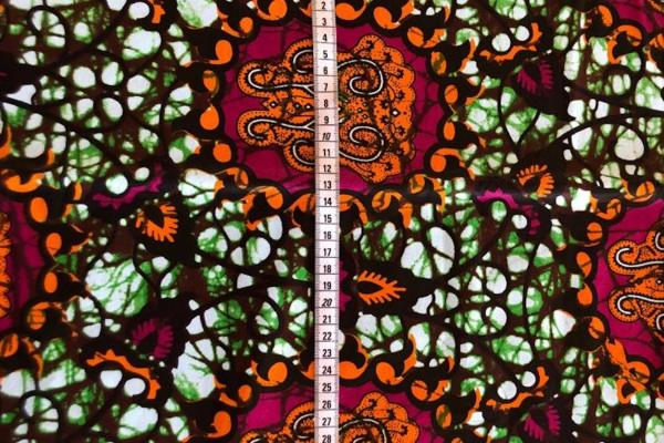 PINK ORANGE ORNAMENT Wax Print Stoff - hier kaufen