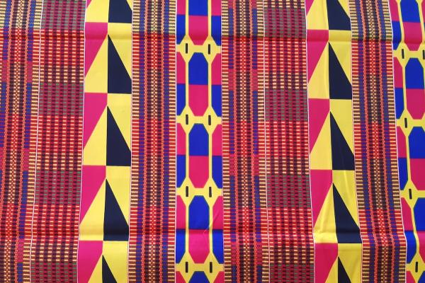 BLUE PINK STRIPES kente