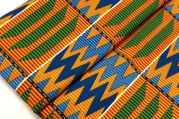ORANGE-MOUNTAIN-PEAKS-Afrikanischer-Kente-Stoff