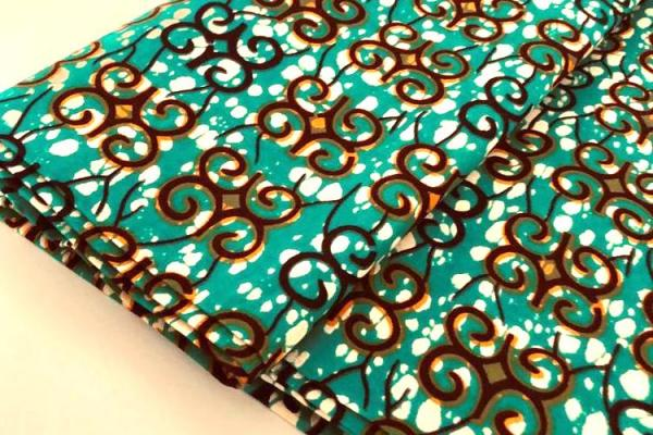 TURQUOISE ORNAMENT Wax Print Stoff - hier kaufen