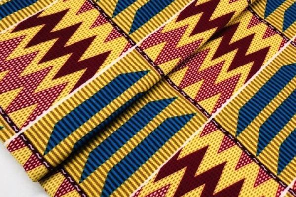 YELLOW-MOUNTAIN-PEAKS-Afrikanischer-Kente-Stoff