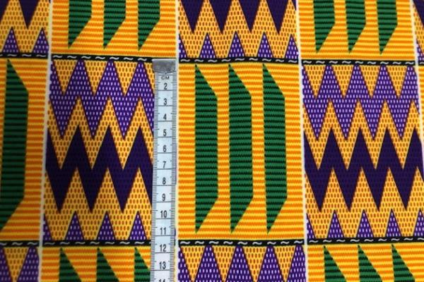 YELLOW-PURPLE-MOUNTAIN-PEAKS- Afrikanischer Kente Stoff